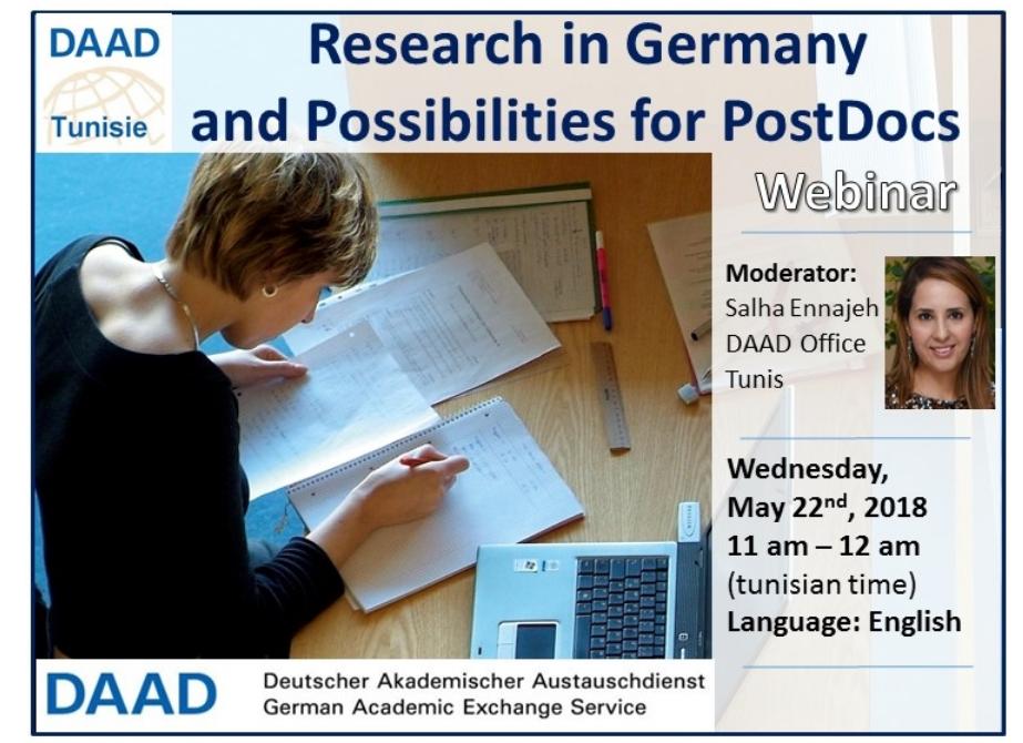"""DAAD ندوة عبر الإنترنت (عرض تقديمي عبر الإنترنت) عن """"البحث في ألمانيا وإمكانيات التقديم"""