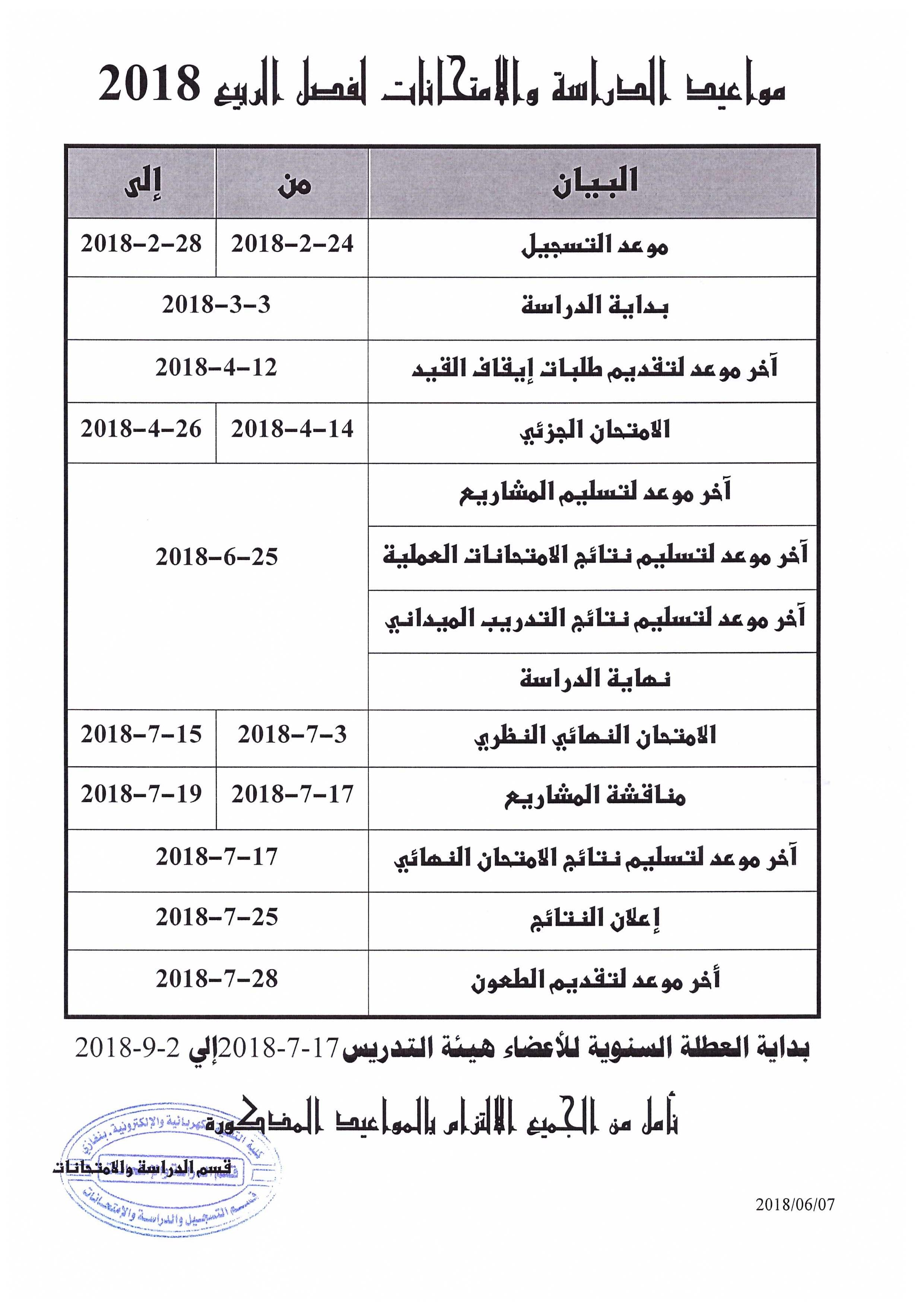 مواعيد الدراسة والامتحانات  لفصل الربيع 2018