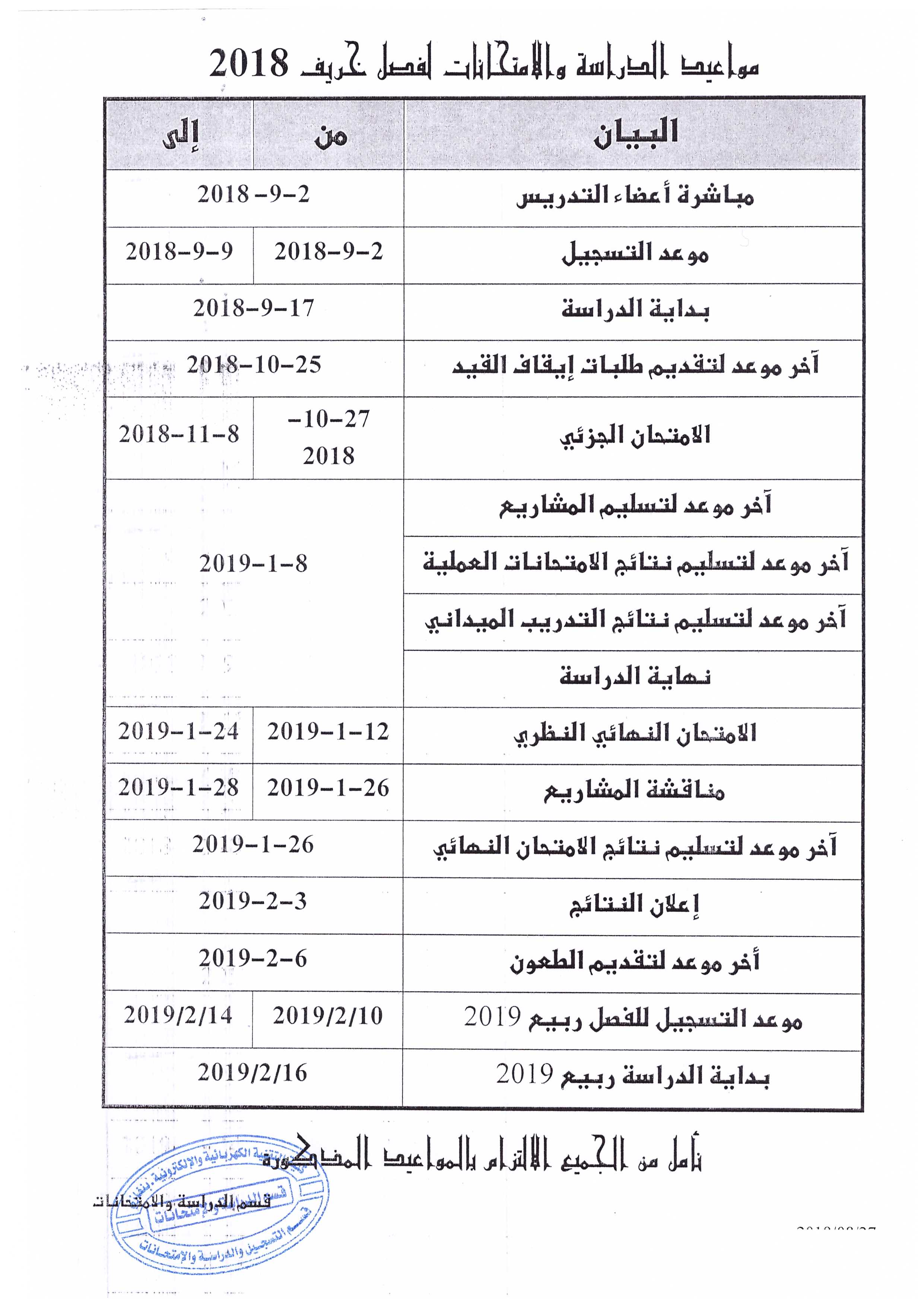 الخطة الدراسية للفصل الدراسي خريف 2018